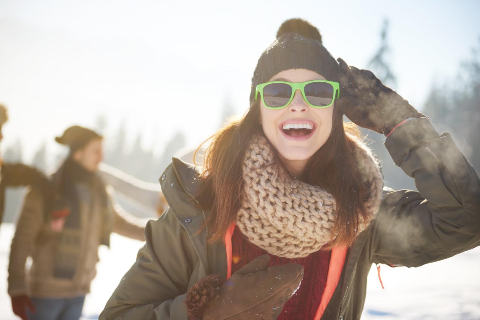 Cheerful woman traveling